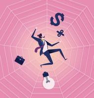 zakenman gevangen op spinnenweb vector