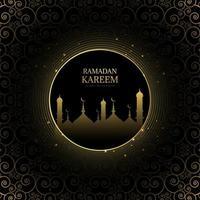 goud en zwart gloeiende ramadan kareem groet vector
