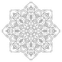 mandala met vintage bloemenstijl om in te kleuren