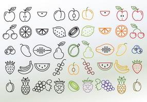 Set van verschillende lineaire fruitvectoren vector