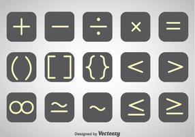 White Outline Math Symbol Vector Set