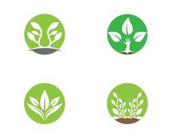 groen en wit eenvoudig rond logo set