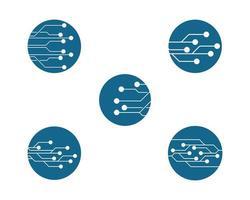 ronde circuit logo set vector