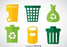 Dumpster Flat Icons Vector Set