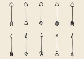 Vrije Hand Getrokken Pijlen Vector