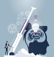 zakenman gloeilamp laten vallen in het hoofd vector