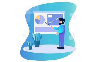 zakenman die de analytische illustratie van het resultatenconcept voorstelt