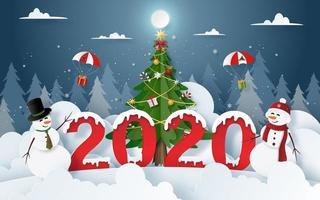 papierkunst van sneeuwman met Kerstmis en Nieuwjaar 2020 partij in kerstavond