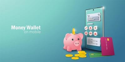e-wallet applicatie op mobiele smartphone voor online transacties en facturering vector