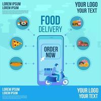 voedselbezorging ontwerp per scooter op een app-bestelling van een smartphone die nu wordt gevolgd