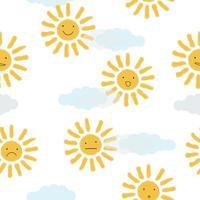 gele zonnen op wolken achtergrond vector