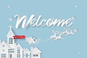papier kunst van welkom op kerstdag achtergrond vector