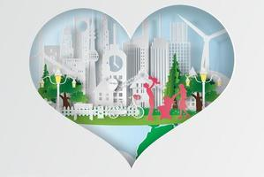 wereld milieu ontwerp voor een papieren kunst vector