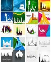 Set Van Kleurrijke Ramadan Kareem Kaart