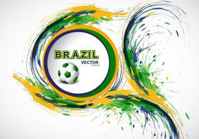 Splash Van Braziliaanse Vlag Kleur Met Voetbal