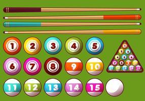 Poolsticks en ballen Vector Set