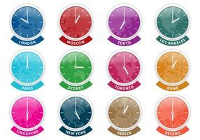 Internationale tijdzone-klokvectoren