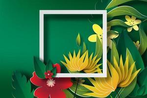 kleurrijke papieren bloemen met frame achtergrond vector