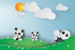 papier kunst panda's spelen ontwerp