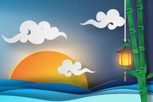 papierkunst zonsondergang over oceaan met bamboe