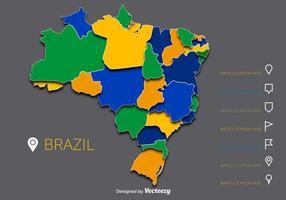 Kleurrijke Brazilië Vector Kaart