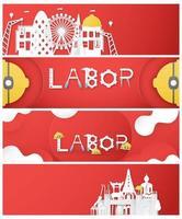 gelukkige dag van de arbeid banner set vector