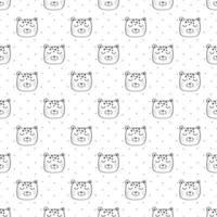 kinderen naadloze patroon met tijger hoofd vector