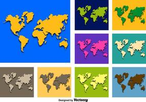 Abstracte Vector Iconen van de Wereldkaart