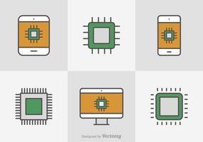 Gratis Flat Line Microchip Vector Pictogrammen