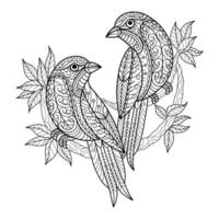 vogels kleurboek voor volwassenen vector