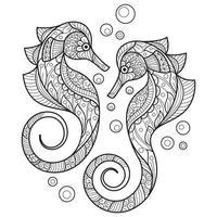 zeepaardje kleurplaat vector