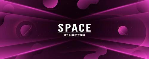 3D-paarse zwarte ruimte banner