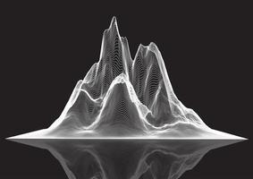 draadframe landschap van piekte berg