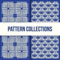 set van twee blauwe abstracte patronen vector