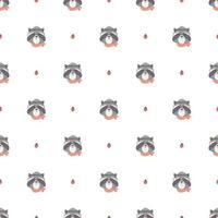 naadloze patroon met schattige wasbeer