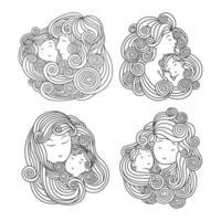 set van mooie moeders met kind ontwerp vector