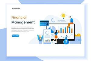 bestemmingspagina voor financieel beheer met mensen en apparaten vector