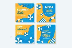 blauwe en gele zomer verkoop social media post set