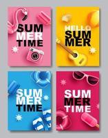 kleurrijke zomer verkoop poster set vector