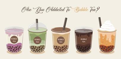 bubble tea cup collectie vector