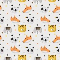 naadloze patroon van schattige dieren gezichten