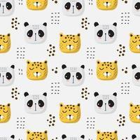 naadloze patroon van tijger en panda hoofden vector