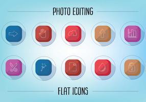 Gratis Vlakke Foto Bewerkende Pictogrammen Vector