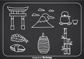 Japanse Cultuur Doddle Icons vector