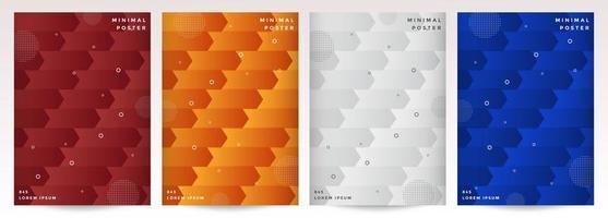 omslag set met abstract geometrisch pijlpatroon
