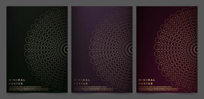 donkere kleuren poster set met verbonden cirkelontwerp