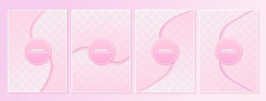 roze geometrische bloemmotief cover set