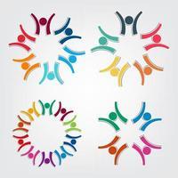kleurrijke mensen symbolen in cirkelgroepen vector
