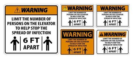 waarschuwing lift fysieke afstand teken set vector
