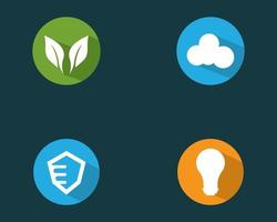 circulaire logo set inclusief cloud en lamp pictogrammen